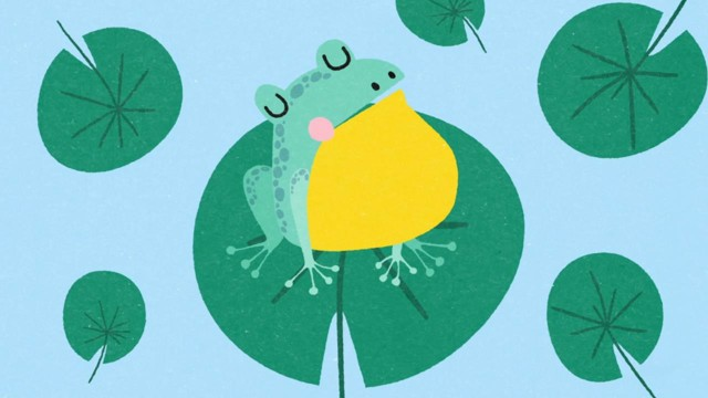 The Calm Frog in the Sunny Pond